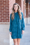 Burnout Dye Hoodie Dress in Teal - Paperback Boutique