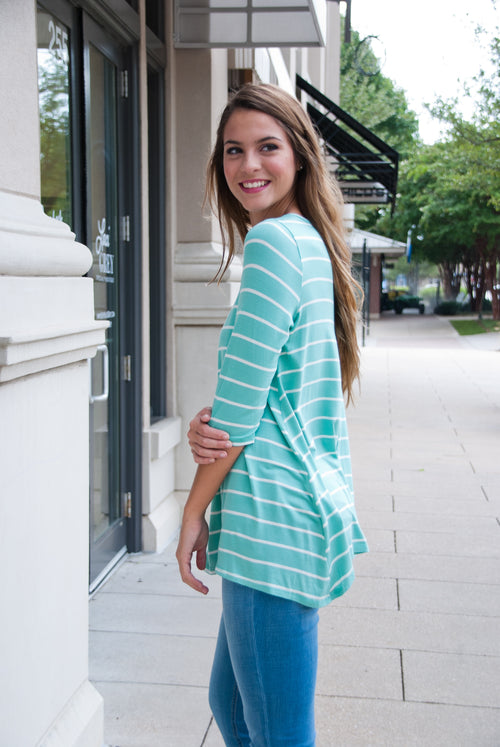 Mint Caged Quarter Sleeve Top