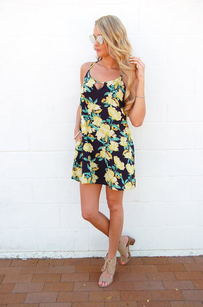 Navy & Yellow Floral Dress - Lovelea Boutique