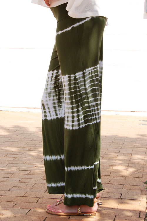Tie Dye Palazzo Pants in Olive - Paperback Boutique