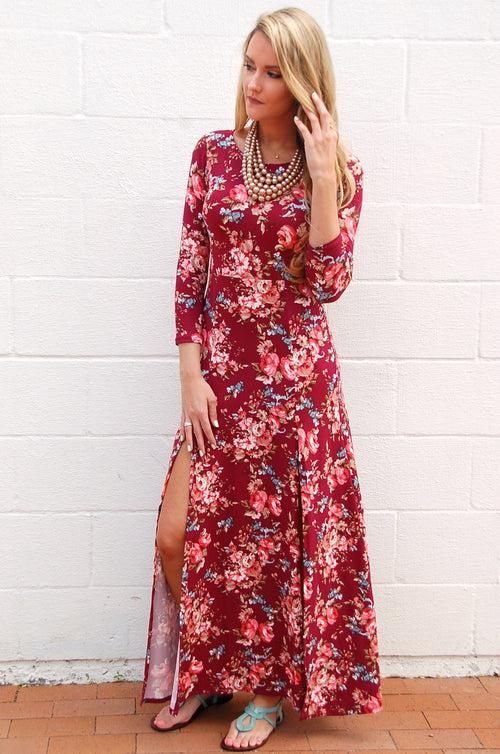 New Romantics Double Slit Maxi Dress in Maroon - Paperback Boutique