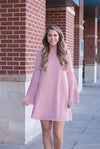 Ruffle Sleeves Shift Dress in Blush - Paperback Boutique