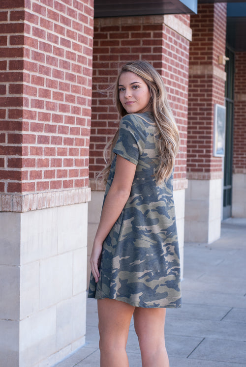 Camo Tee Dress with Pockets - Paperback Boutique