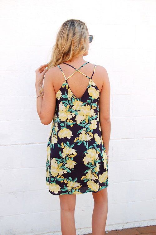 Navy & Yellow Floral Dress - Paperback Boutique