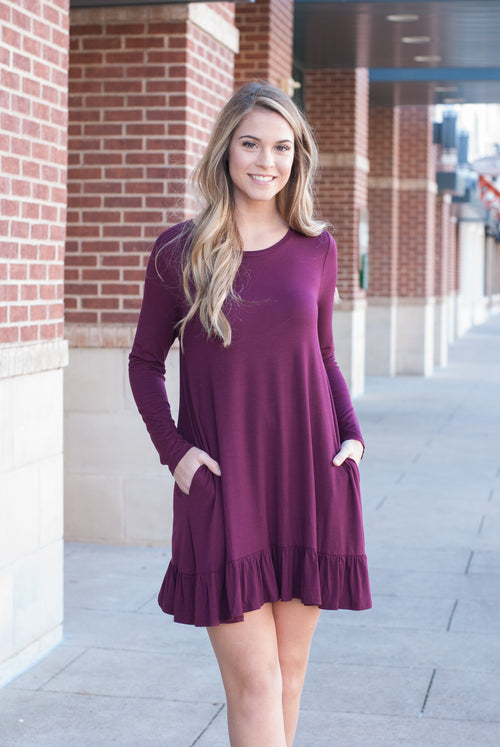 Maroon Ruffle Hem Long Sleeve Pocket Dress - Paperback Boutique