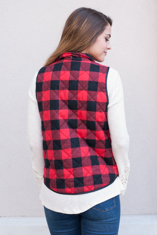 Buffalo Plaid Puffy Vest - Lovelea Boutique
