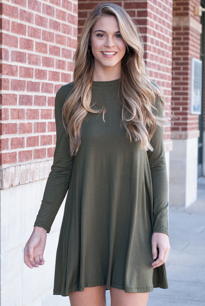 Long Sleeve Tee Tunic Dress in Olive - Paperback Boutique