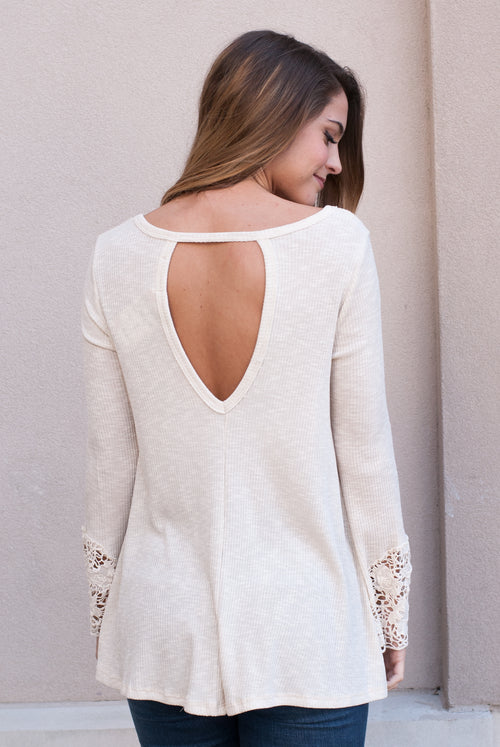 Lace Bell Sleeve Top in Cream - Paperback Boutique
