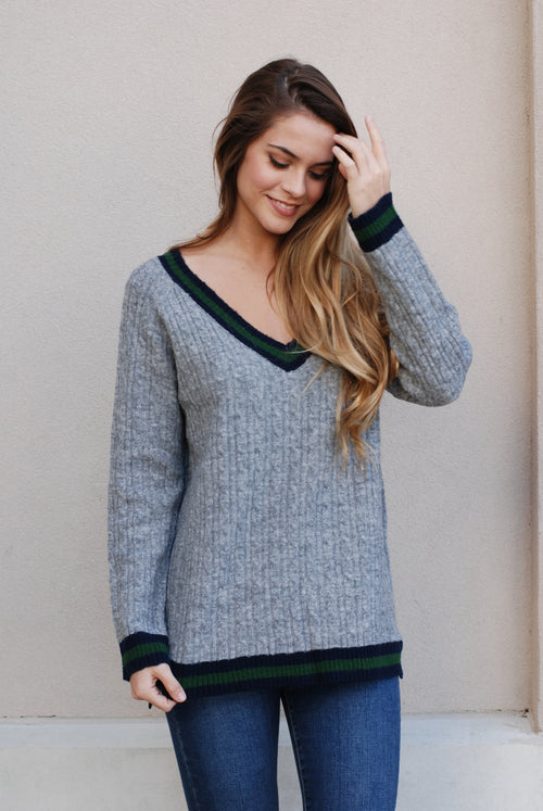 Gray Varsity Sweater - Lovelea Boutique