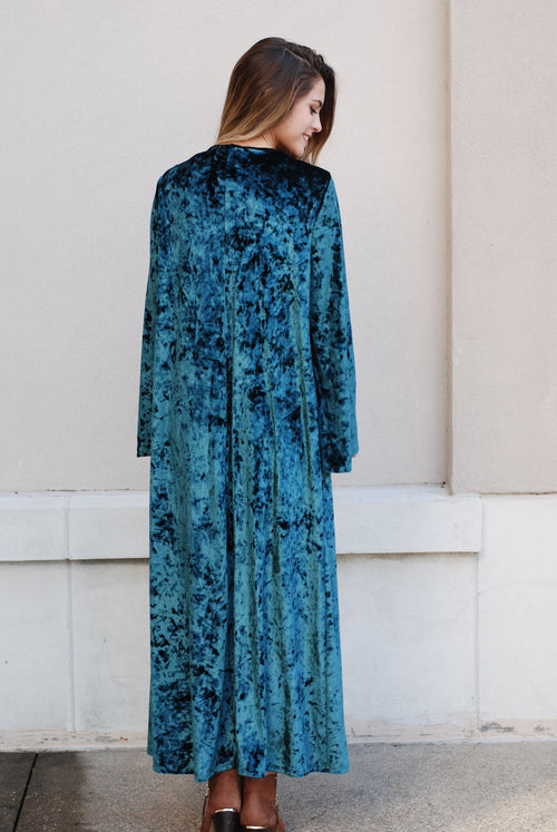 Emerald Long Velvet Duster Kimono - Paperback Boutique