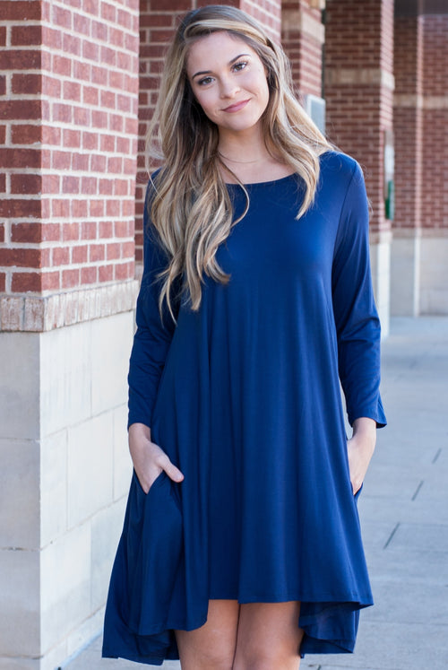 Navy Comfy Swing Dress with Pockets - Paperback Boutique