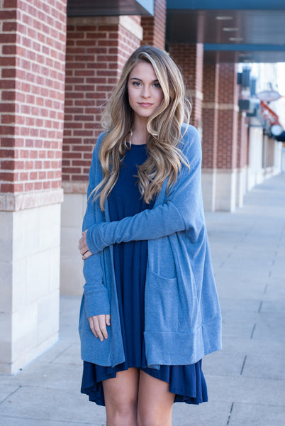 Peach Love California Cardigan in Blue - Lovelea Boutique