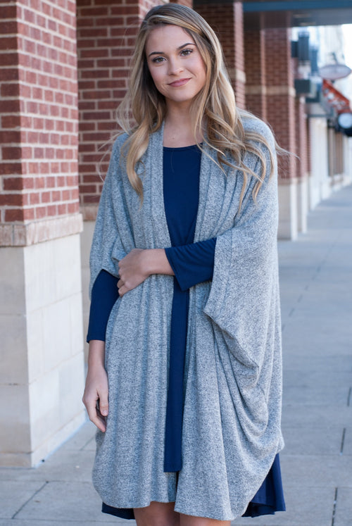 Heather Gray Comfy Oversized Cardigan - Paperback Boutique