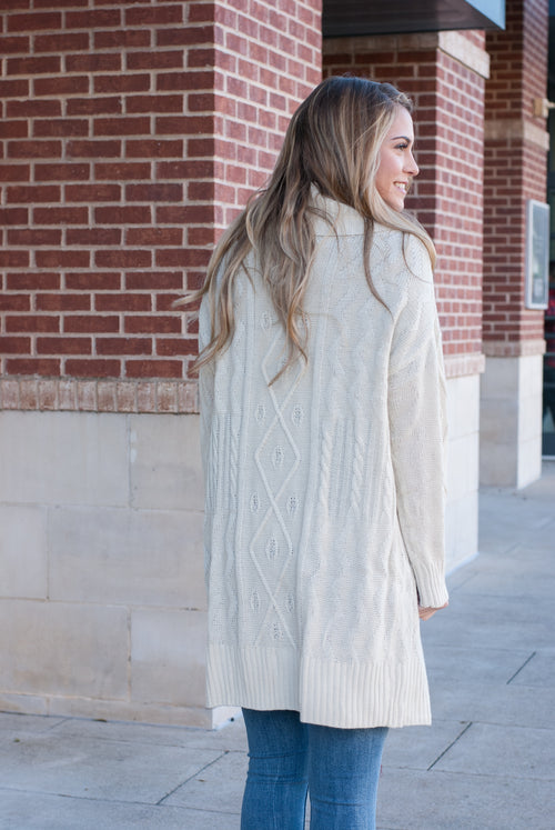 Oversized Tie  Knit Cardigan - Lovelea Boutique