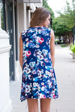 Floral Navy Pocket Dress - Lovelea Boutique