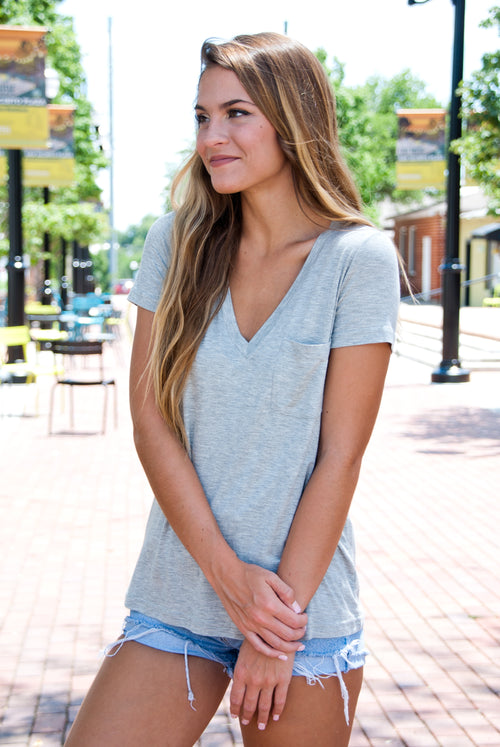 Comfy Pocket Tee in Gray - Paperback Boutique