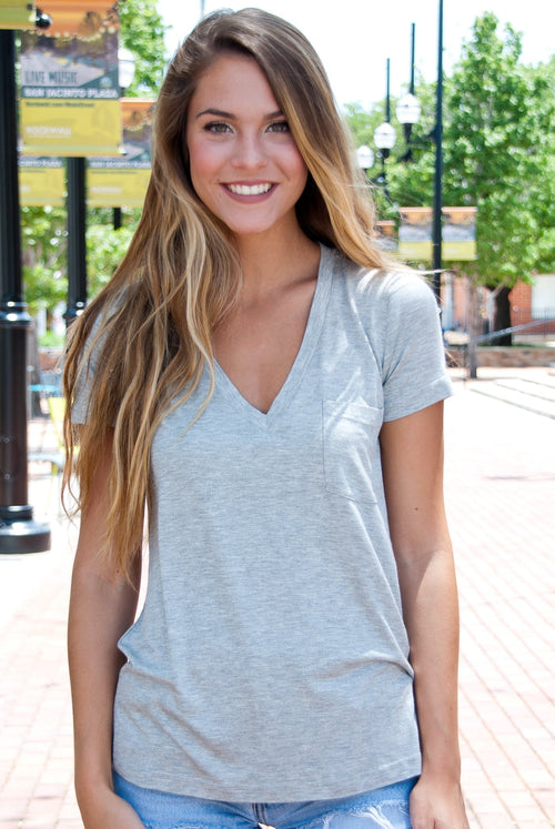 Comfy Pocket Tee in Gray