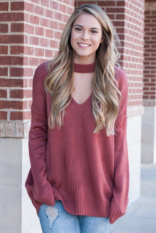 Knit Choker Sweater in Brick - Lovelea Boutique