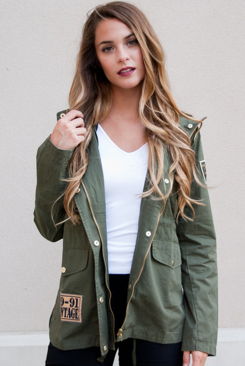 Army Green Vintage Patch Jacket - Paperback Boutique