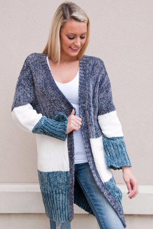 POL Chenille Knit Color Block Cardigan
