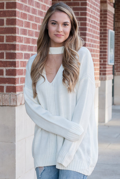 Knit Choker Sweater in Ivory - Lovelea Boutique