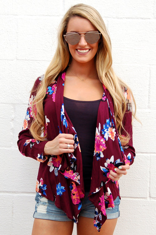 Purple Floral Open Spring Cardigan - Paperback Boutique