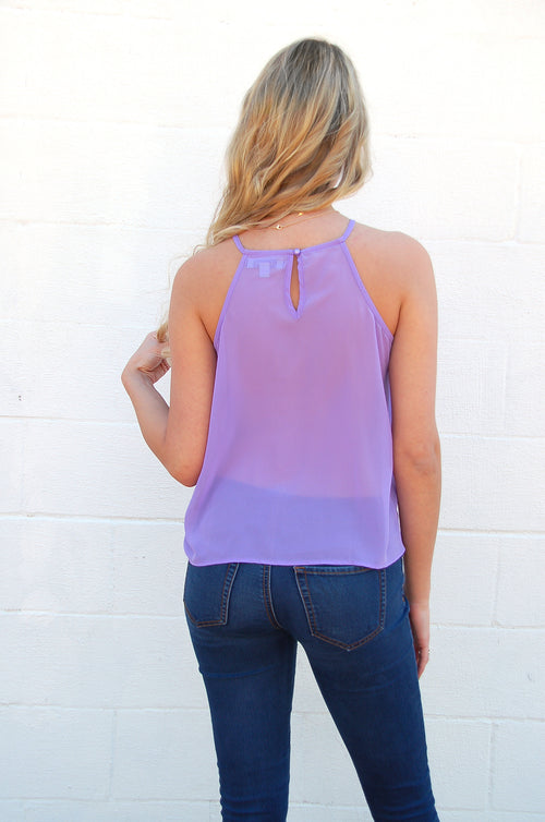 Ruffle Tank in Lilac - Paperback Boutique
