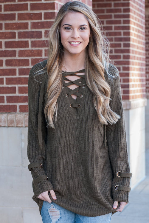 Lace Up Sweater in Olive - Paperback Boutique