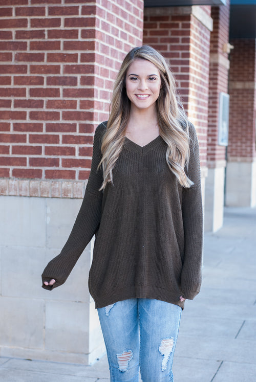 Lace Back Sweater in Olive - Paperback Boutique