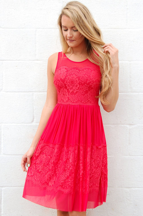 Stunner in Red Lace Dress - Paperback Boutique