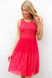 Stunner in Red Lace Dress - Lovelea Boutique
