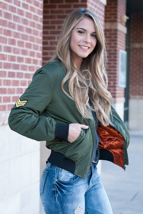 Olive Bomber Jacket - Lovelea Boutique