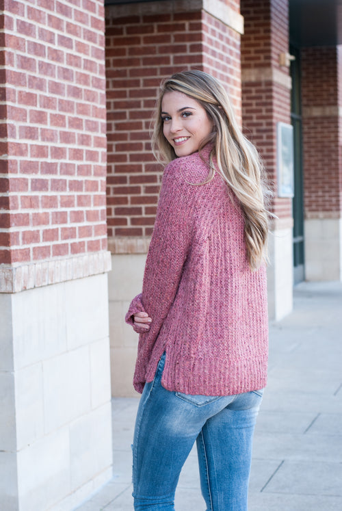 Mauve Knit Mock Neck Sweater - Paperback Boutique