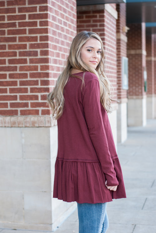 Ruffle Long Sleeve Top in Berry - Paperback Boutique
