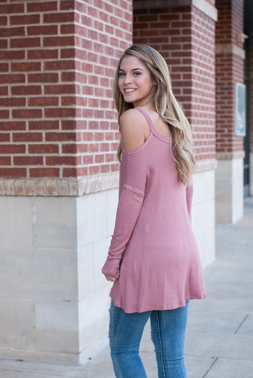 Cold Shoulder Waffle Knit Top in Blush - Paperback Boutique