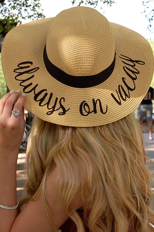 Always on Vacay Beach Sunhat - Paperback Boutique
