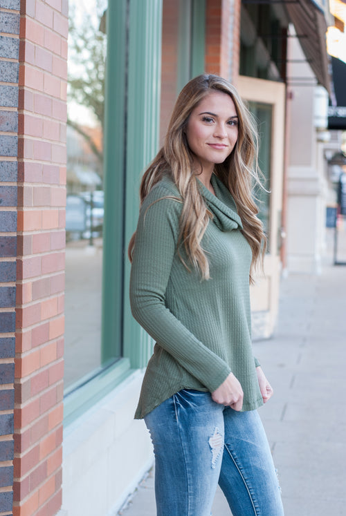 Cowl Neck Waffle Knit Top in Olive - Paperback Boutique