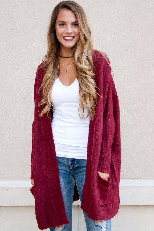 Oversized Knit Cardigan in Burgundy
