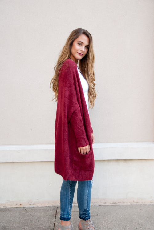 Oversized Knit Cardigan in Burgundy - Paperback Boutique