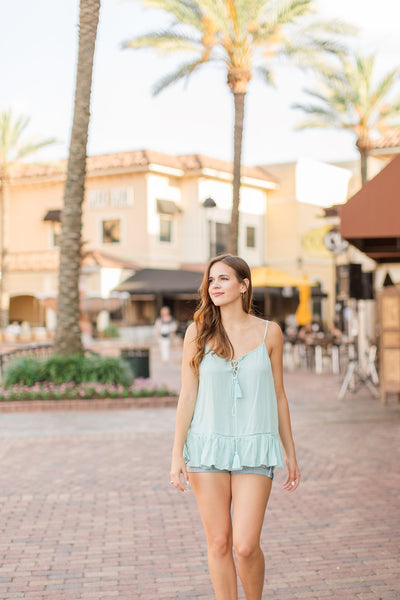 Turquoise Lace Up Tank Top - Lovelea Boutique