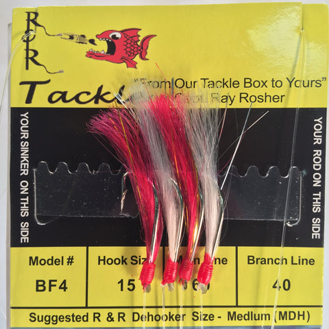 BF4 Bait Rig  - 4 (size 15) hooks with hot pink/white nylon feathers