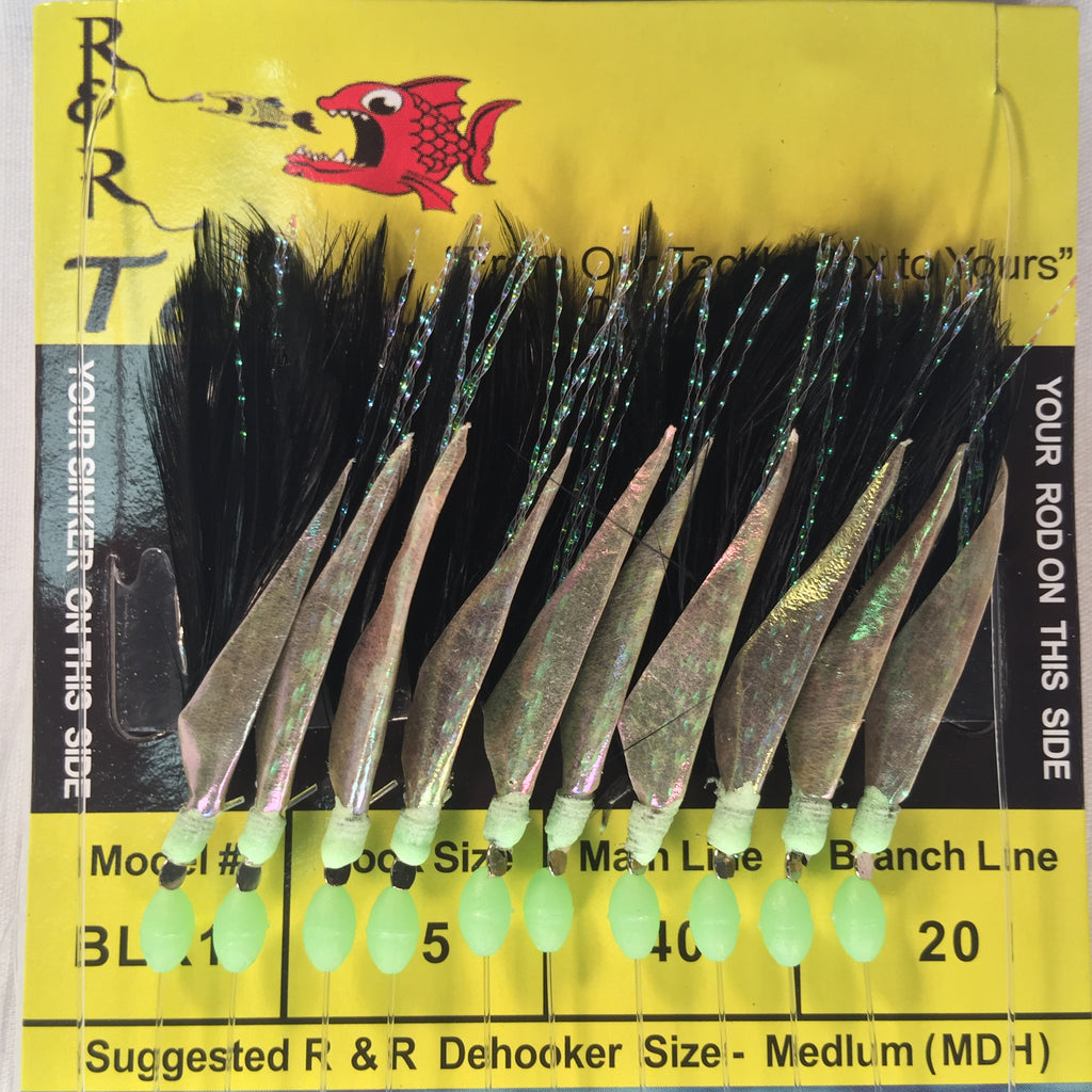 BLK10 Bait Rig - 10 (size 15) hooks with black feather & green glow bead