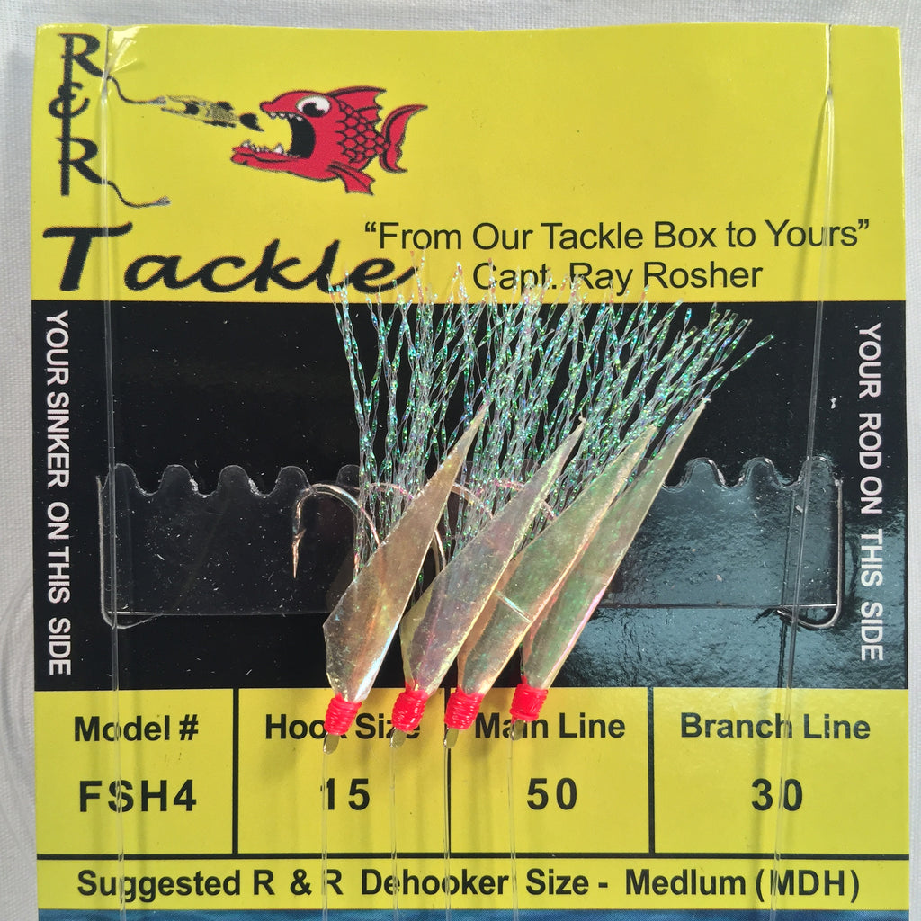 FSH4 Sabiki - 4 (size 15) hooks with flash & fish skin