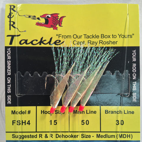 FSH4 Bait Rig- 4 (size 15) hooks with flash & fish skin