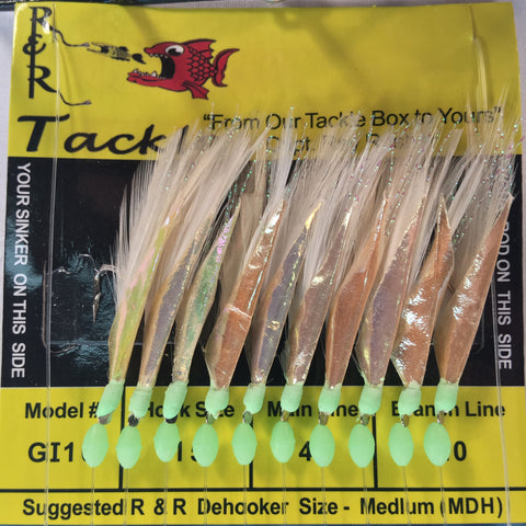 GI10 Bait Rig - 10 (size 15) hooks with white feather & fish skin