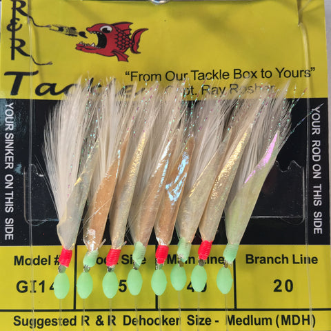 GI14 Bait Rig -  8 (size 15) hooks with white feather & Red/Grn beads & fish skin