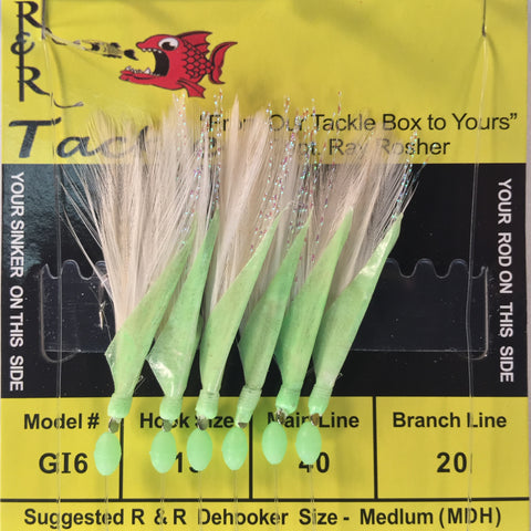 GI6 Bait Rig - 6 (size 15) hooks with white feather & glow fish skin