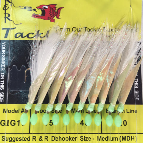 GIG10 Bait Rig- 10 (size 15) gold hooks with white feather & fish skin