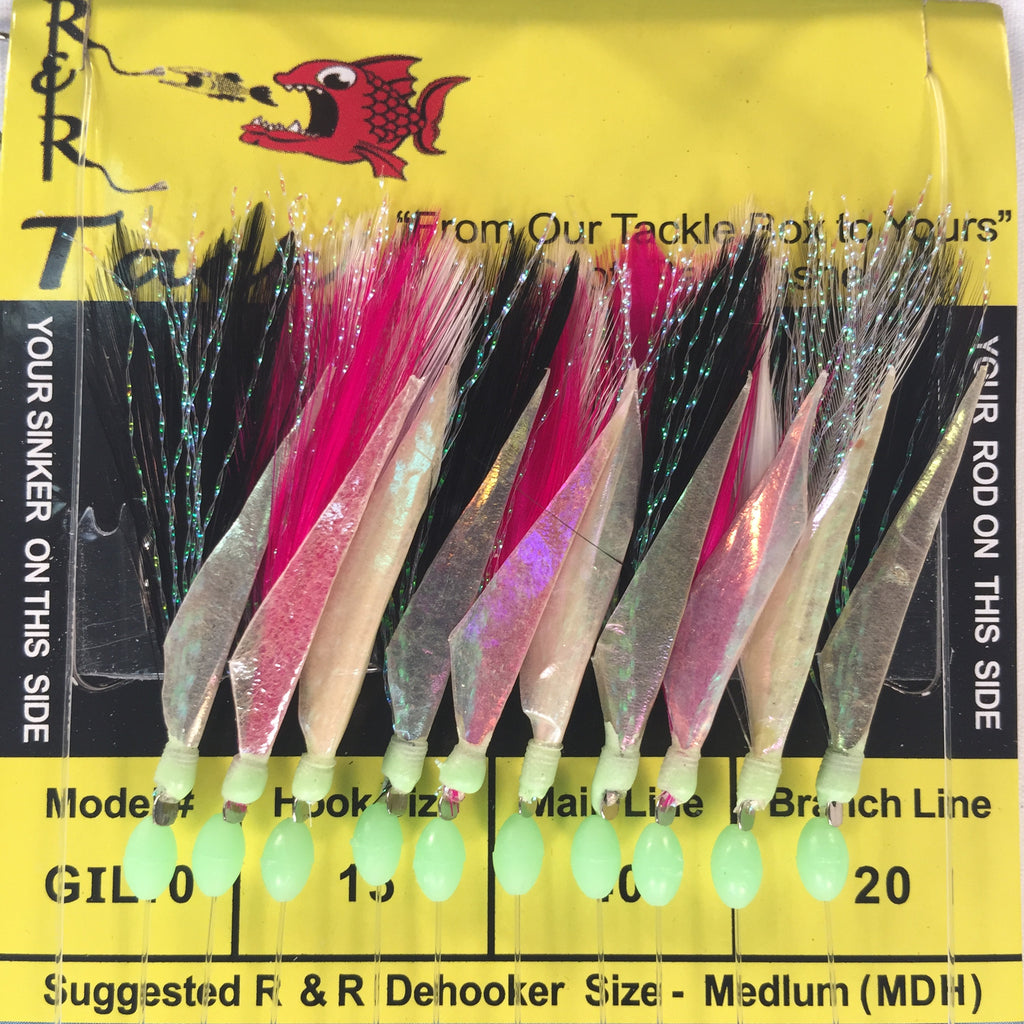 GIL10 Bait Rig- 10 (size 15) hooks with multi-color feather & fish skin