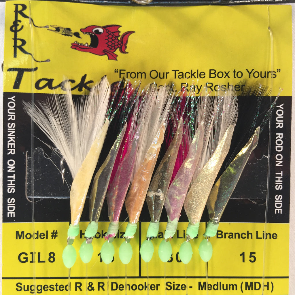 GIL8 Sabiki Rig- 8 (size 15) hooks with multi-color feather & fish skin